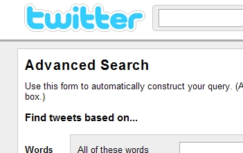 Twitter Adv Search Top of Page